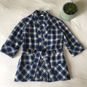 Vintage 1960s Plaid Robe Style Jacket